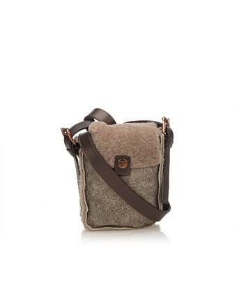 Celine Pre-owned: Fur Shoulder Bag In Brown X Light Brown