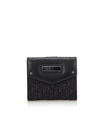 Dior Pre-owned: Oblique Small Wallet In Black