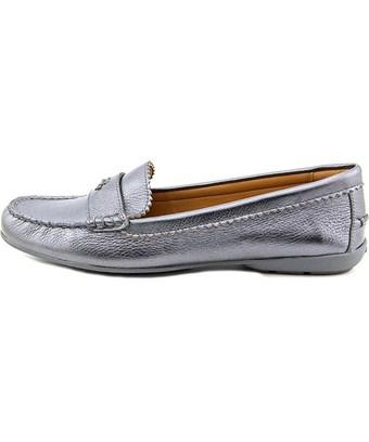 Coach Womens Odette Leather Almond Toe Loafers In Silver