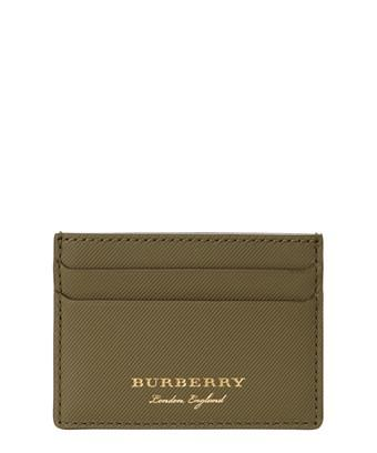 Burberry Trench Leather Card Case In Green
