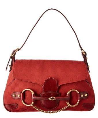 Gucci Red Gg Supreme Canvas Horsebit Shoulder Bag In Nocolor
