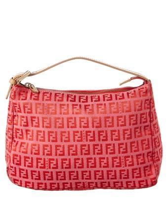 Fendi Pink Zucchino Canvas Shoulder Bag In Nocolor