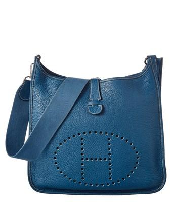 Hermes Blue Clemence Leather Evelyne I Gm In Nocolor
