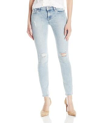 Guess Mid Rise Skinny Bleached Distressed Jeans In Blue
