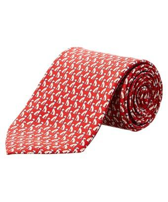 Salvatore Ferragamo Red Regal Dog Silk Tie In Nocolor
