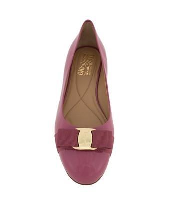 Salvatore Ferragamo Varina Patent Leather Ballet Flats | Griotte In Pink