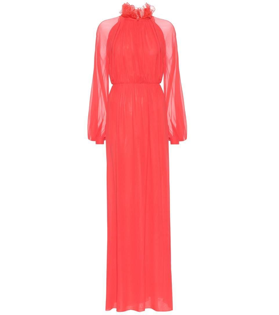 Giambattista Valli Silk Georgette Gown In Red
