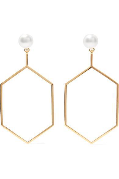 Natasha Schweitzer Foxy 14-karat Gold-plated Pearl Earrings
