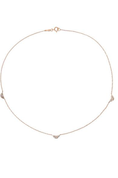 Catbird Sleeping Beauty 14-karat Rose Gold Diamond Necklace
