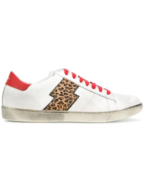 Amiri Viper Distressed Leather And Leopard-print Calf Hair Sneakers In White