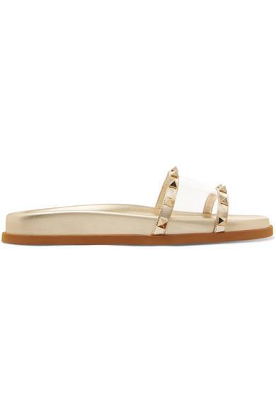 Valentino Garavani Moonwalk Studded Mirrored-leather And Pvc Slides In Gold