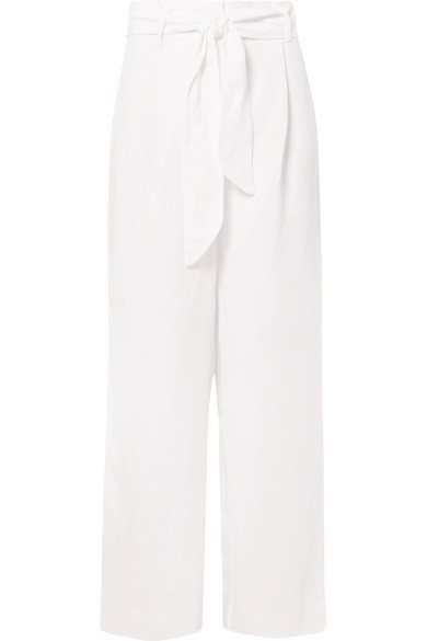 Mara Hoffman Amani Belted Tencel And Linen-blend Wide-leg Pants In White
