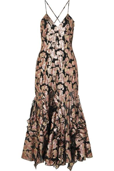 Alice Mccall Best Of You Metallic Silk-blend Jacquard Midi Dress In Black