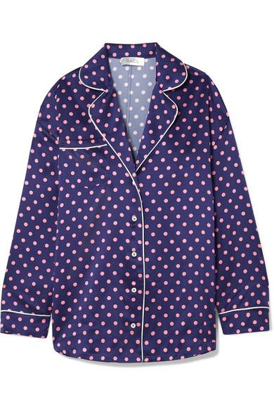 Racil Traveler Polka-dot Silk-satin Shirt In Navy