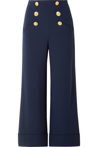 Alice And Olivia Ferris Button-embellished Jersey Wide-leg Pants In Navy