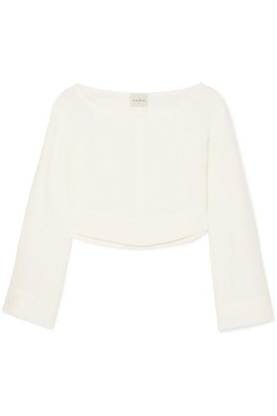 Le Kasha Cairo Cropped Linen Top In White