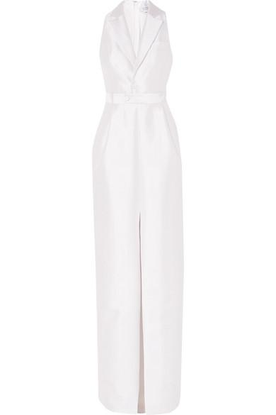 Gabriela Hearst David Silk-blend Tuxedo Dress In Ivory
