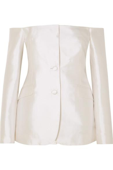 Gabriela Hearst Dorothea Off-the-shoulder Silk And Wool-blend Blazer In Ivory