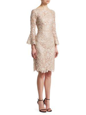 Teri Jon By Rickie Freeman Bell-sleeve Lace Sheath Dress In Champagne