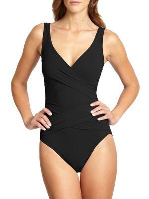 Karla Colletto Swim One-piece Surplice Swimsuit In Black