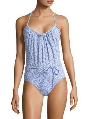 Lisa Marie Fernandez One-piece Charlotte Swimsuit In Cornflower Seersucker