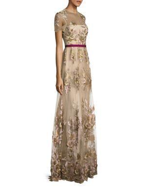 ml Monique Lhuillier Short-sleeve Illusion Floral Gown In Vintage