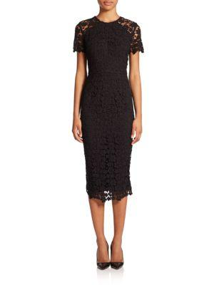Shoshanna Beaux Guipure Lace Sheath Dress In Jet