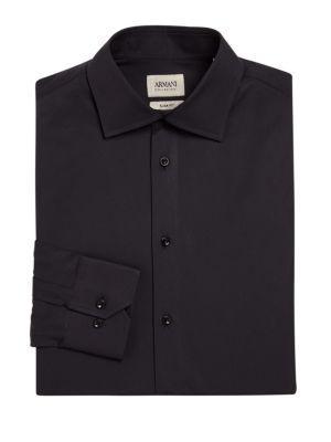 Armani Collezioni Slim-fit Cotton Dress Shirt In Black