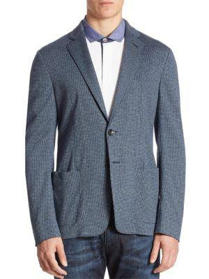 Armani Collezioni Yarn-dyed Cotton Sportcoat In Blue Yarn