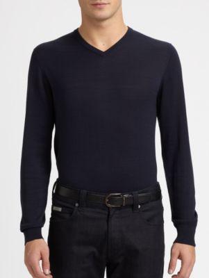 Armani Collezioni V-neck Shirt In Navy