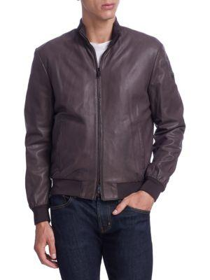 Armani Collezioni Zip-up Leather Short Bomber In Chocolate