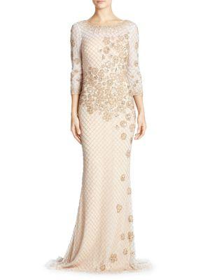 Basix Black Label Embellished Gown In White Gold