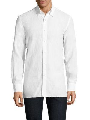 Canali Linen  Casual Button-down Shirt In White