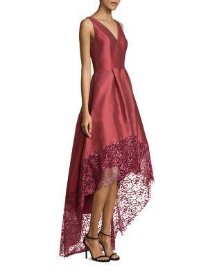 ml Monique Lhuillier Lace Trim High-low Gown In Dusty Rose