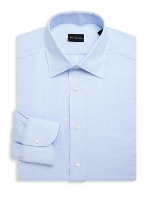 Ermenegildo Zegna Cotton Dress Shirt In Blue