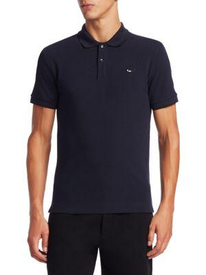 Mcq By Alexander Mcqueen Swallow Cotton Polo In Blue Black