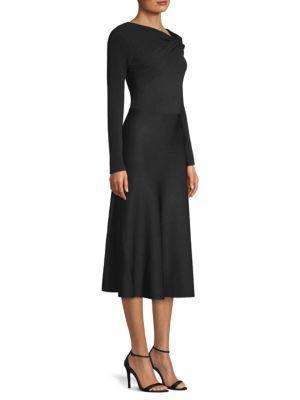 Jason Wu Stretch Long-sleeve A-line Dress In Black