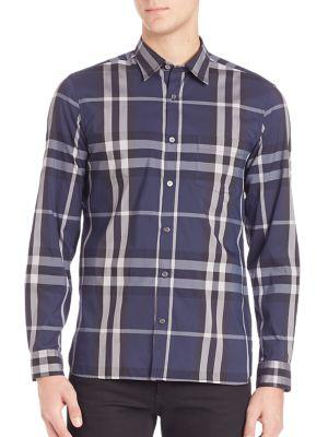 Burberry Nelson Casual Button-down Shirt In Indigo