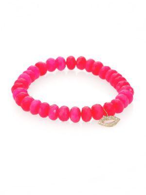 Sydney Evan Diamond, Hot Pink Chalcedony & 14k Yellow Gold Lips Beaded Stretch Bracelet
