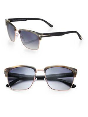 Tom Ford River 57mm Square Sunglasses In Green-black