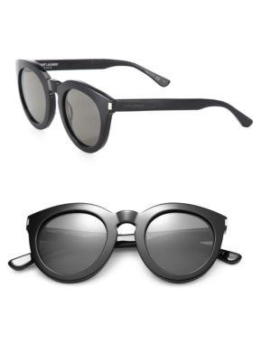 Saint Laurent Sl 102 47mm Round Sunglasses In Black Smoke