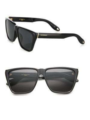 Givenchy 55mm Acetate Angular Sunglasses In Black