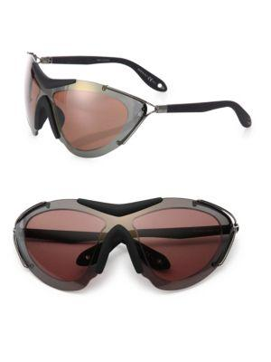 Givenchy 99mm Metal Shield Sport Sunglasses In Red
