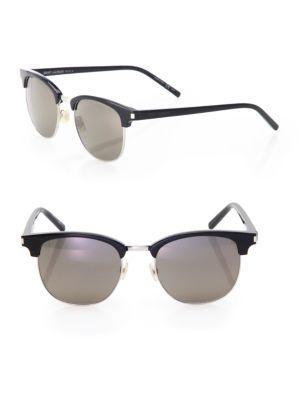 Saint Laurent Classic 108 Half-rim Sunglasses In Black