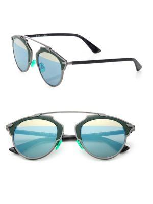 Dior Soreal 48mm Round Mirrored Lens Sunglasses In Green