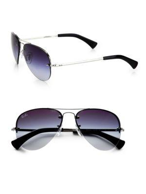 Ray Ban Rb3449 59mm Semi-rimless Aviator Sunglasses In Silver Smoke