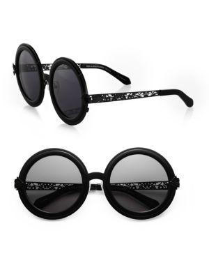 Karen Walker Peek-a-boo Filigree Round Sunglasses In Black