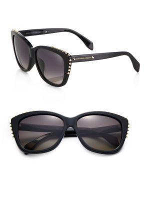 Alexander Mcqueen Studded Cat's Eye Sunglasses In Black