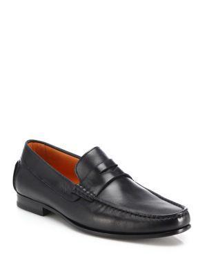 Santoni Turner Leather Penny Loafers In Black