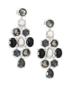 Ippolita Rock Candy Black Tie Semi-precious Multi-stone & Sterling Silver Cascade Chandelier Earrings In Silver-black
